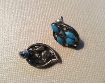 Paisley earrings, faux turquoise