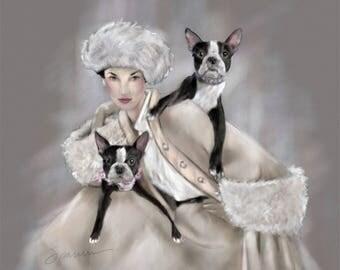 """PRINT Nostalgic Glamour Boston Terrier  Dog Art Vintage Fashion Couture """"Boston Proper"""" Mary Sparrow"""