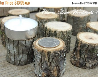 SALE 25 tree slice stumps for rustic weddings, country wedding decor, tree branch decorations, little tree stump candle holders, woodland de