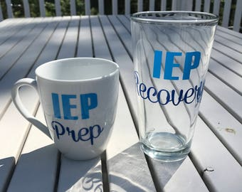 IEP Prep / IEP Recovery Coffee and Beer Glass Set - Perfect Gift for Special Needs Parents and Teachers!