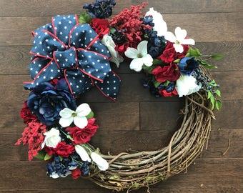 Patriotic Wreath, Fourth Of July Wreath, 4th Of July Wreath, American Wreath, USA Wreath, Red White And Blue Wreath, July 4th Wreath