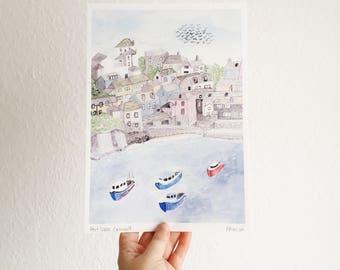 Port Isaac, Cornwall - Watercolour Print - Port Isaac Print - Coastal Print - Seaside Print - Bathroom Decor - Cornwall Print - British Art