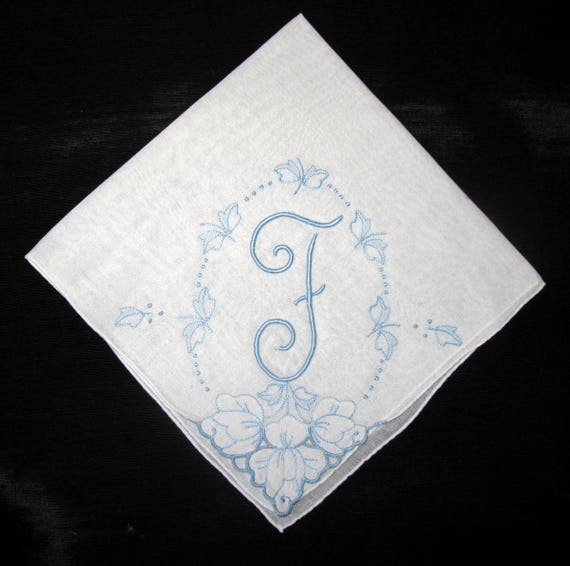 Wedding Handkerchief for Bride, Blue Initial R, B, E, F or N on White Hankie