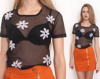90s black mesh daisy floral sheer top shirt s