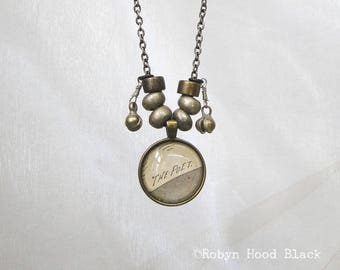 Poet Gift THE POET Glass Cab Necklace with Antique Illustrated Text and Kuchi beads