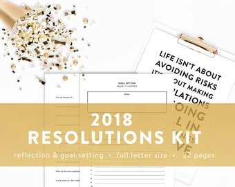 2018 Resolutions Kit - Healthy and Organized - Reflection and Goal Setting - INSTANT DOWNLOAD