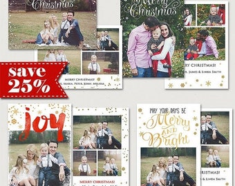 ON SALE ON Sale! Christmas Card Template, 7x5, 5x7in Holiday Card Adobe Photoshop psd Template, Bundle sku xm-14