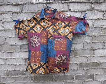 Vintage Shirt 100% Silk Baroque Faux Patchwork Paisley XL Royalty 1980s 90s Fresh Prince Geo Beach Club Rave Hippie Disco 1990s 80s