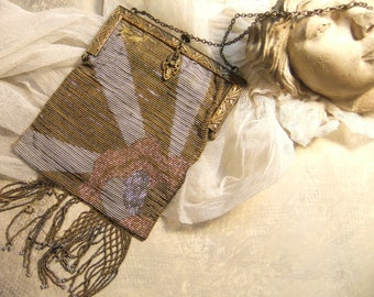 Art Deco, Steel Cut Beads, Micro Beaded Purse, French Bag, 1900s Evening Bag, Antique Purse Frame, As Found