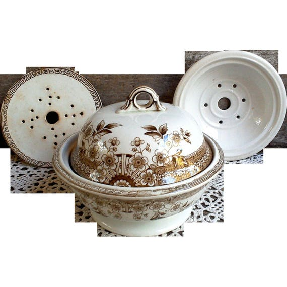 Brown Staffordshire Aesthetic Transfer 4 Piece Soap Dish, Foley Pattern, 1880, Ironstone,
