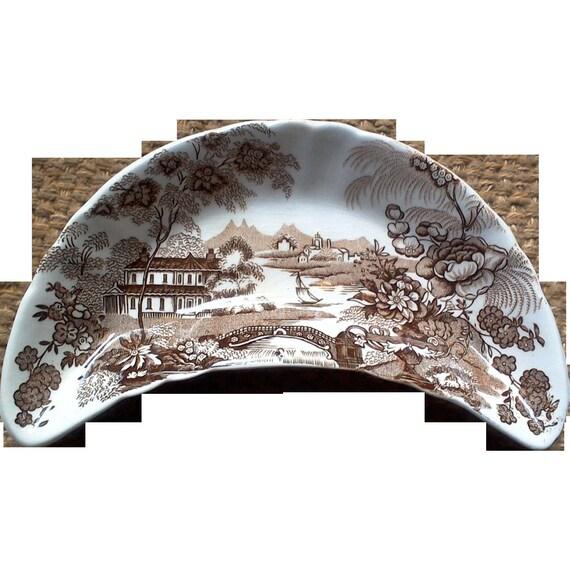 Brown Bone Dish, Brown Transferware, Brown Crescent Plate, Royal Crownford, Tonquin, England Transferware