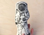 Astronaut Plushie, Handprinted stuffed animal, monochromatic, black and white, Space nursery