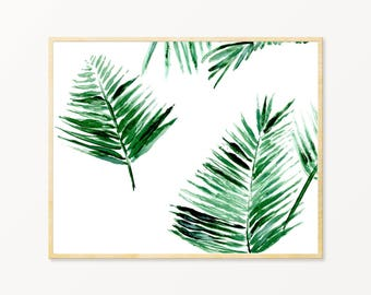 Palm Leaf Printable Art, palm leaf art print, palm leaf wall art, tropical leaf print, palm leaf printable, palm leaves art