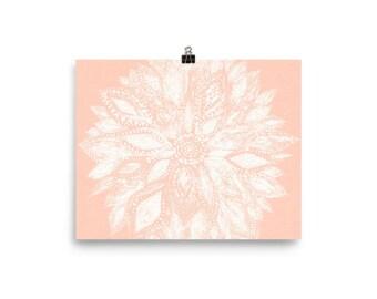 Pink Flower Art Print, Pink Flower Wall Art, Flower Art Print, Pink White