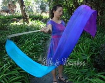 1 pc 2.5m*0.3m turquoise-blue-purple silk streamer, for dance or play, real light silk, intercangeable sticks