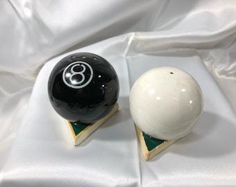 Enesco Vintage POOL BALLS Salt and Pepper Shakers Ceramic White Black 8 Ball