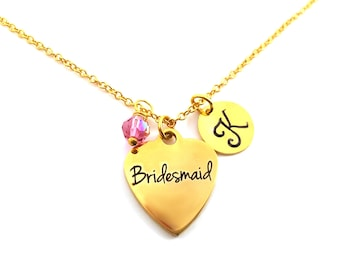 Bridesmaid Heart Necklace -Swarovski Birthstone - Custom Initial - Personalized Gold Plated Necklace / Gift for Her