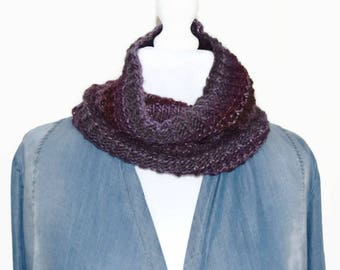 Purple knitted cowl, loop scarf, cowl neck scarf, purple eternity scarf, circle scarf, knitted neck wrap, hand knit scarf, handmade scarf