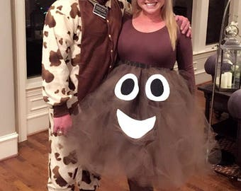 Adult halloween costume,  poop emoji costume, funny halloween costume, costume for women, tutuhot tutu hot, adult tutu costume