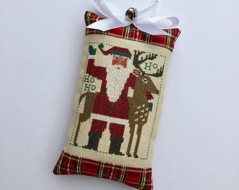 Completed Primitive Cross stitch Santa Christmas Ornament