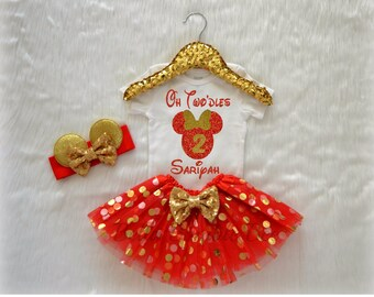 Girl Oh Twodles Disney Minnie Mouse, Red and Gold Custom Name, Second Birthday Tutu Headband Set, Short and Long Sleeve Bodysuit Tshirt 344