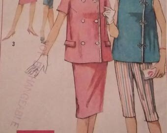 Vintage Simplicity 3967 Sewing Pattern Maternity Top, Skirt, and Pants
