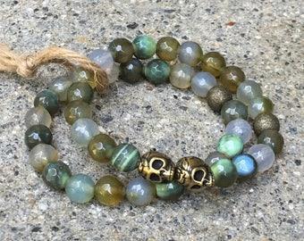 8mm beaded bracelets skull jewelry skulls agate gemstone beads