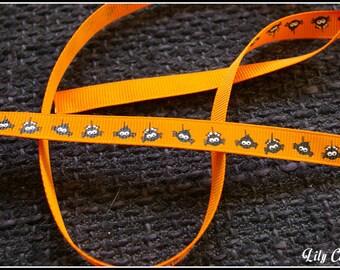 1 meter of Ribbon pattern orange halloween spider