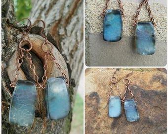 Blue Agate Drop Earrings