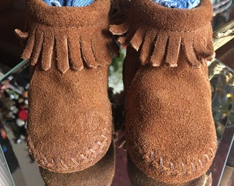 Vintage Baby Minnetonka Brown Suede with Fringe Moccasins