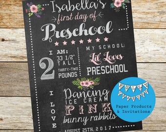 Back to School sign, First Day of School Sign, girls Preschool Sign, Girls school sign, Chalkboard sign, Digital Download Blackboard sign