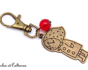 Red Riding Hood red bronze ღ ღ red bead Keyring