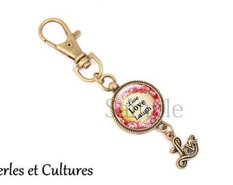 Keychain cabochon Life Love Laughღ words flowers pink yellow red ღ