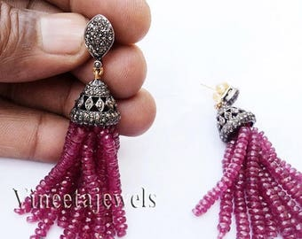 ON SALE 10% OFF Tassel .925 Silver Vintage Inspired 4.08Ct. Rose Cut Diamond Antique Ruby Earrings