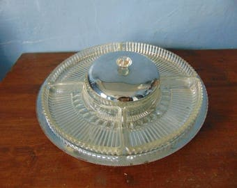 Vintage Lazy Susan Glass and Chrome Relish Tray