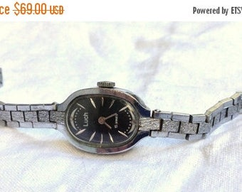 ON SALE Soviet watch, NOS watch ,Vintage Watch ,Womens watch, Russian watch , Mechanical watch ,black watch