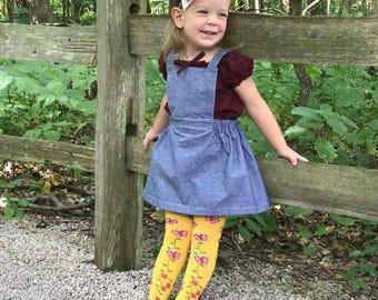 Moira pinafore chambray skirt, jumper, bib skirt, chambray