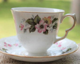 "QUEEN ANNE Bone china Teacup and Saucer Set ""Pattern Number 8346"""