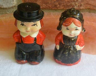 SALE! Amish Couple Shakers - Salt and Pepper, Painted Red and Black, Plastic Stoppers - Vintage -Fabulous!