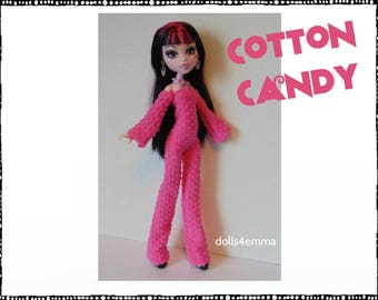 Monster High Doll Clothes - COTTON CANDY pink Jumpsuit and Jewelry Set - Handmade Fashion by dolls4emma