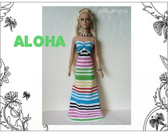 """Tyler Doll Clothes - ALOHA Gown & Tropical Jewelry Set - Custom Fashion fits 16"""" Tonner - by dolls4emma"""