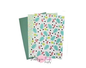 Watermelon and Palm Leaves Fabric Sheet PACK #2- Glitter Fabric Sheet- vinyl Fabric Material-DIY Hair Bows 1mm Thick