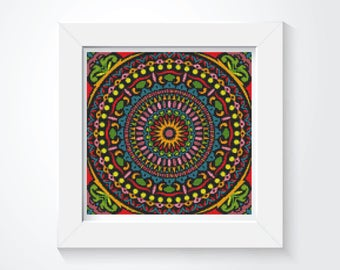 Mandala Cross Stitch Pattern PDF, Hypnotic Cross Stitch Chart, Art Cross Stitch, Embroidery Chart (ART034)