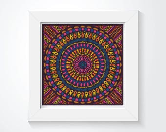 Mandala Cross Stitch Kit, Time Cross Stitch, Embroidery Kit, Art Cross Stitch (ART036)