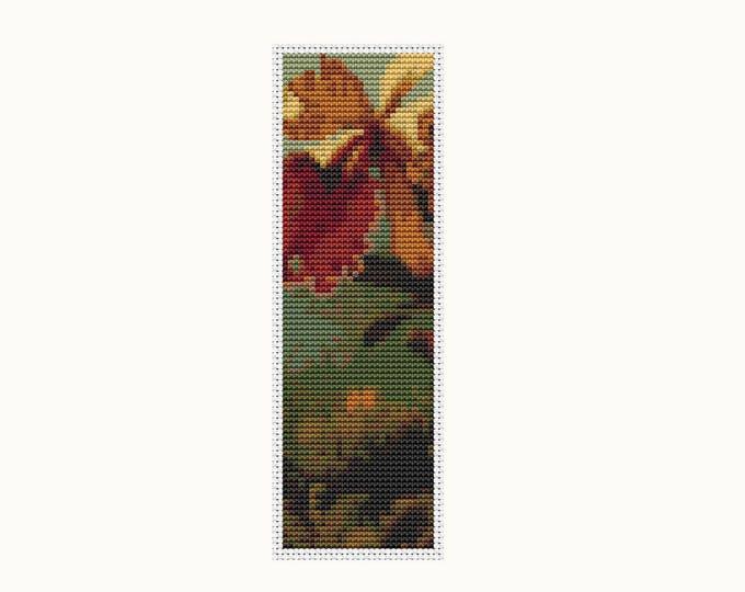 Bookmark Cross Stitch Pattern PDF, Embroidery Chart, Art Cross Stitch, Orchids and Hummingbird by Martin Johnson Heade (BK07)
