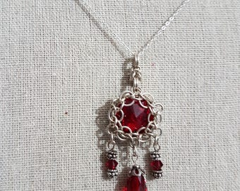 Sterling Silver necklace with red