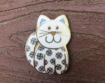 Vintage Signed Hallmark Calico Kitty Cat Cloisonne Enamel Pin Brooch