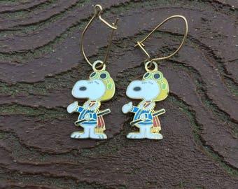 Vintage Aviva Peanuts Snoopy Flying Ace Earrings
