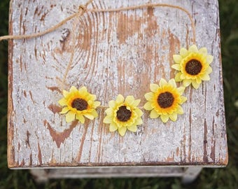 Rustic twine Sunflower Halo/Tie Back Headband, Newborn Tieback, Baby, Girl, Headband, Tan, Photo
