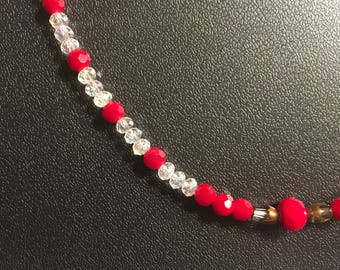 """16"""" Red And Clear Glass Beaded Necklace"""
